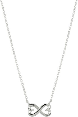 Love This Life Sterling Silver Infinity Heart Station Necklace