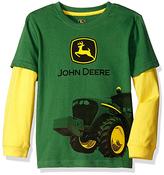 John Deere Green & Yellow Tractor Mud Long-Sleeve Tee - Boys