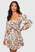 boohoo Petite Floral Off Shoulder Ruffle Detail MinI Dress