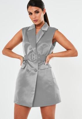 Missguided Grey Sleeveless Belted Blazer Dress