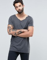 Asos Longline T-Shirt With Raw Scoop Neck In Charcoal Marl