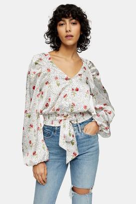 Topshop Cream Satin Floral Dot Tie Front Blouse