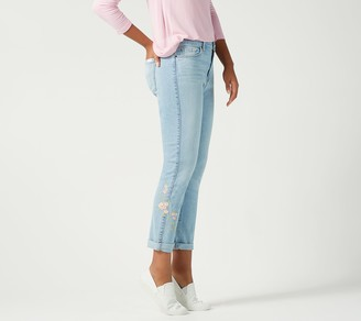 JEN7 by 7 For All Mankind Slim Boyfriend Jeansw/ Embroidery