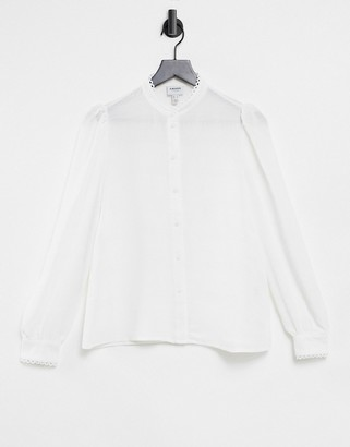 Vero Moda Aware blouse with high neck and scallop trim in white