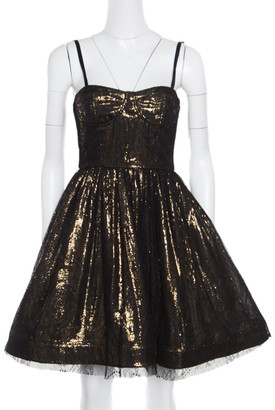 Alice + Olivia Metallic Lace Overlay Yelle Dress S