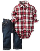 Carter's Size 12M 2-Piece Plaid Bodysuit and Jean Set in Red