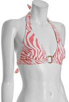 pink zebra stripe ring halter bikini top