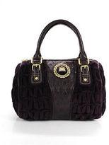 Juicy Couture Purple Velvet Leather Gold Tone Small Satchel Handbag