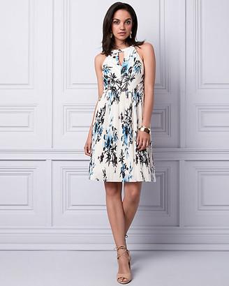 Le Château Floral Print Shiny Knit Halter Dress