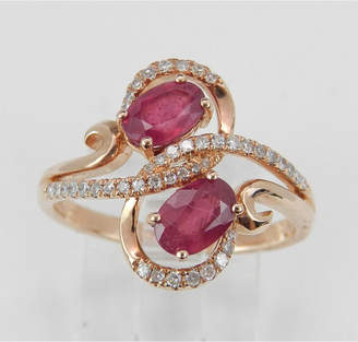 Margolin & Co 14K Rose Gold 1.40 ct Diamond and Ruby Cocktail Ring, Two Stone Right Hand Ring, Size 7, July Gemstone