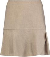 See by Chloe Pleated wrap-effect slub wool-blend mini skirt