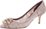 Dolce & Gabbana Lace Jewel Toe Pump
