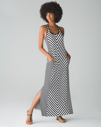 Soma Intimates Striped Racerback Maxi Dress with Built-In Bra