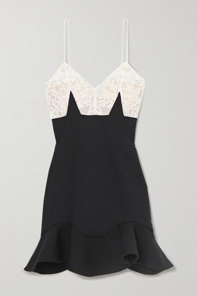 Alexander McQueen Wool-blend And Lace Mini Dress - Black