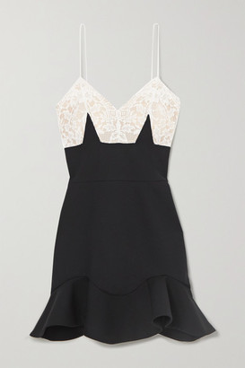 Alexander McQueen Wool-blend And Lace Mini Dress - Black