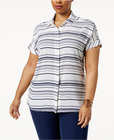 Alfani Plus Size Striped Shirt, Created for Macy's