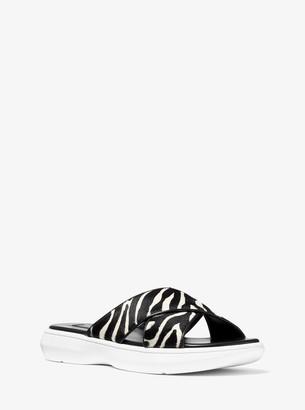 Michael Kors Daphne Zebra Calf Hair Slide Sandal