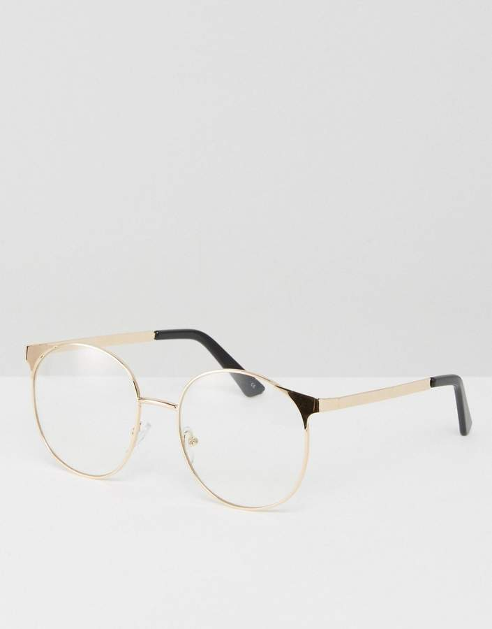 Asos Design Geeky Metal Round Clear Lens Glasses