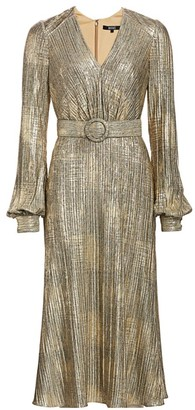 Badgley Mischka Plisse Foil Metallic Belted Puff-Sleeve A-Line Midi Dress