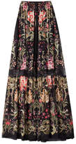 Roberto Cavalli Printed Silk Maxi Skirt with Lace Inserts