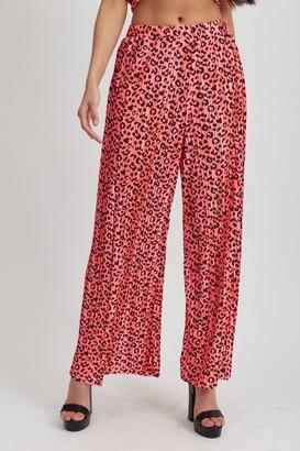 Liquorish Hot Pink Animal Print Trousers