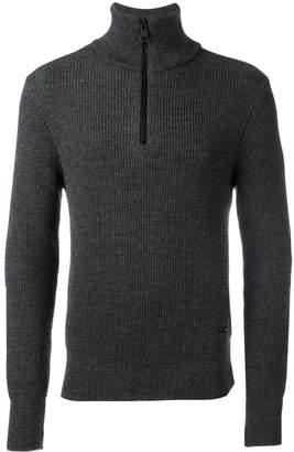 Ami Paris fisherman rib half zipped sweater