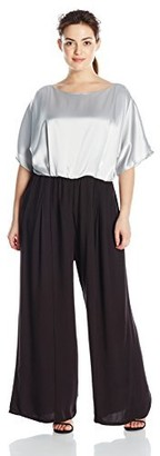ABS by Allen Schwartz Women's Plus-Size Dual Tone Vintage Inspired Jumpsuit