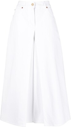 Valentino Logo Plaque-Detail Layered Wide-Leg Jeans