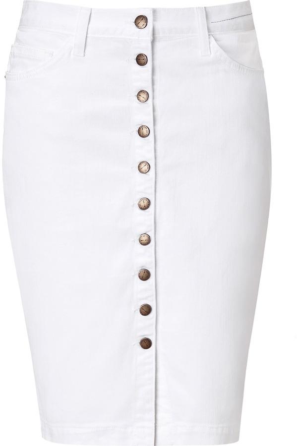 Current/Elliott White Denim Button Up Skirt