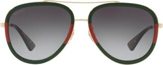 Gucci Striped Aviator Sunglasses