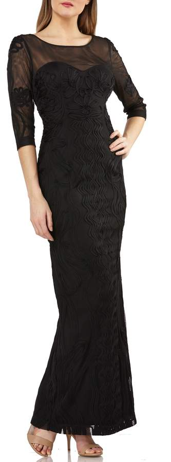 JS Collections Illusion Yoke Soutache Column Gown