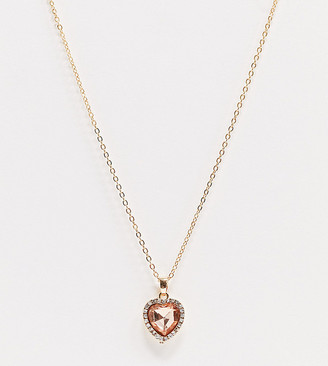 Asos DESIGN Curve necklace with pink heart jewel pendant in gold tone