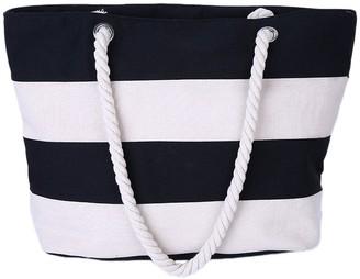 Leisial Women Canvas Handbag Simple Stitching Color Design Stripes Beach Shoulder Bag Environmental Protection DIY Bag for Shopping or School(Black)