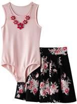 Knitworks Girls 7-16 Mesh Neckline Bodysuit & Floral Skater Skirt Set with Necklace