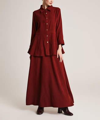 Simmly Women's Maxi Skirts Claret - Claret Velvet Red Button-Up & Maxi Skirt - Women