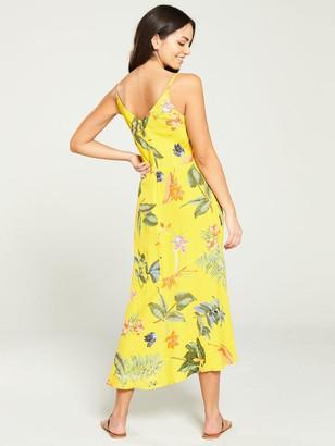 Warehouse Isabella Floral Midi Dress - Yellow