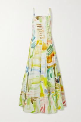 Rosie Assoulin Million Pleats Paneled Printed Cotton-blend Faille Maxi Dress - White