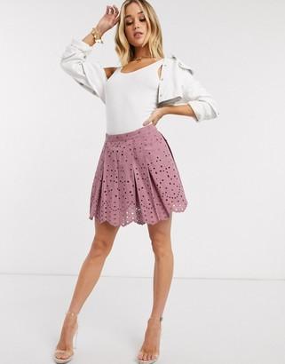ASOS DESIGN cutwork box pleat mini skirt in dusty rose