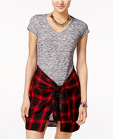 Material Girl Juniors' Plaid Wrap-Front T-Shirt Dress, Only at Macy's