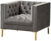 Baxton Studio Zanetta Velvet Upholstered Gold Lounge Chair, Gray