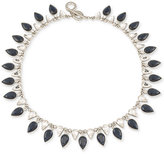 Carolee Silver-Tone Jet and Clear Teardrop Crystal Collar Necklace