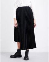 Y's Ys Pleated asymmetric wool-blend skirt