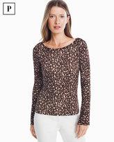 White House Black Market Petite Crew Neck Leopard Pullover Sweater