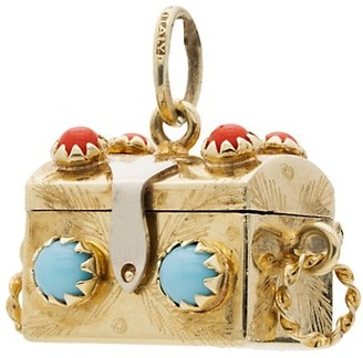 Stephanie Windsor Antique 14K Yellow Gold, Turquoise & Carnelian Treasure Chest Charm
