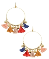 Chan Luu Quintuple Tassel Hoop Earrings