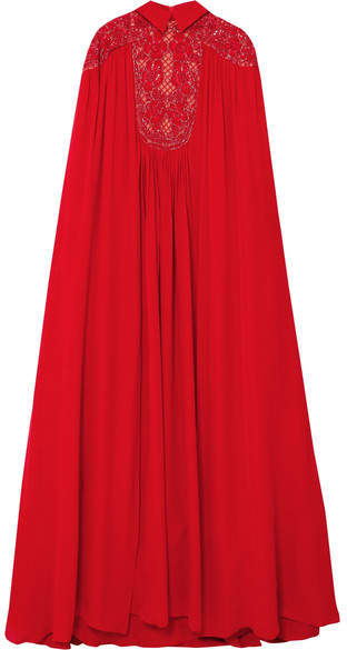 Elie Saab Cape-effect Embellished Silk-blend Crepe De Chine Gown - Red