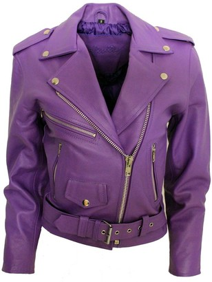 Infinity Women's Stylish Brando Purple Leather Biker Jacket 14