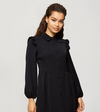 Miss Selfridge Petite shirt dress with frill detail in black