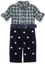 Ralph Lauren Plaid Shirt w/ Embroidered Corduroy Pants, Green/Navy, Size 9-24 Months