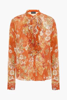 Nicholas Ruffled Floral-print Silk-crepon Blouse